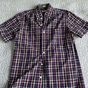 Red blue plaid short sleeve button down